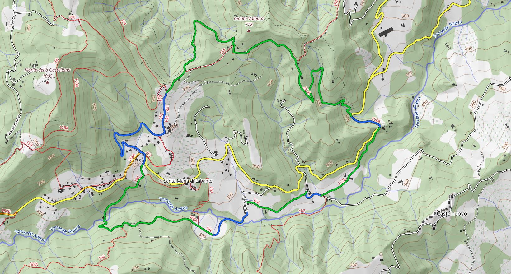 Scarica la mappa topografica di Grotte di Labante e Sentiero delle Tane