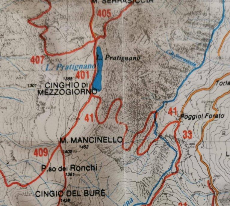 Paoggiolforato - Lago Pratignano, mappa 1991