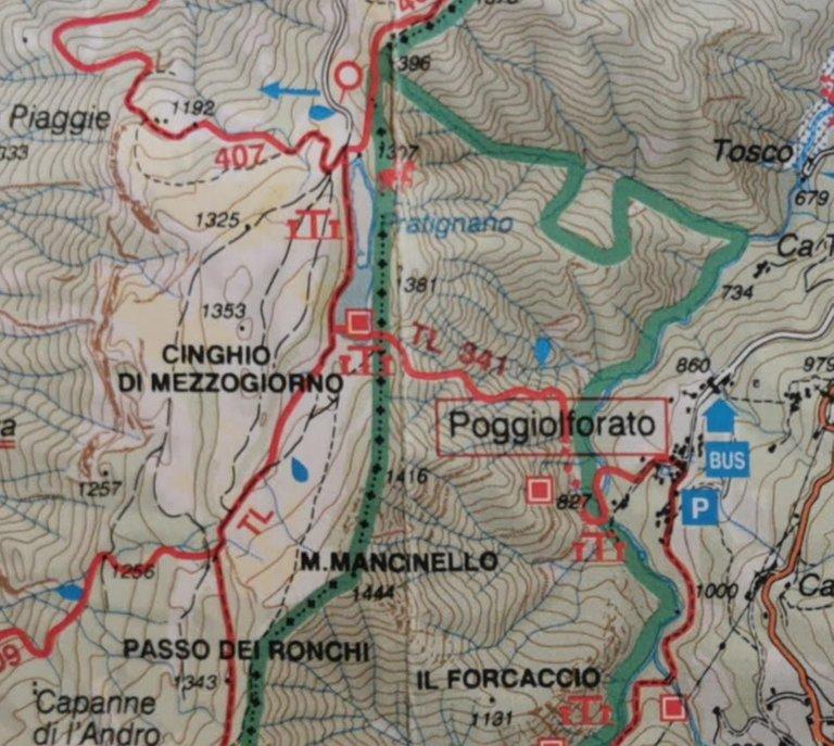 Paoggiolforato - Lago Pratignano, mappa 1997
