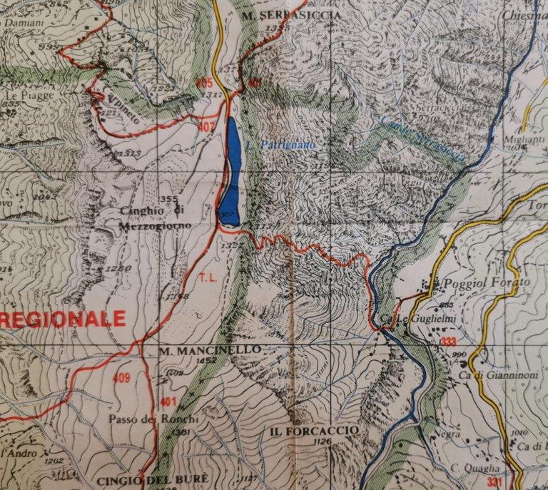 Paoggiolforato - Lago Pratignano, mappa 2000