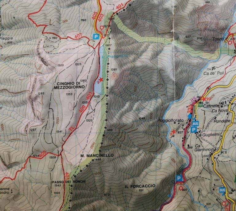 Paoggiolforato - Lago Pratignano, mappa 2005