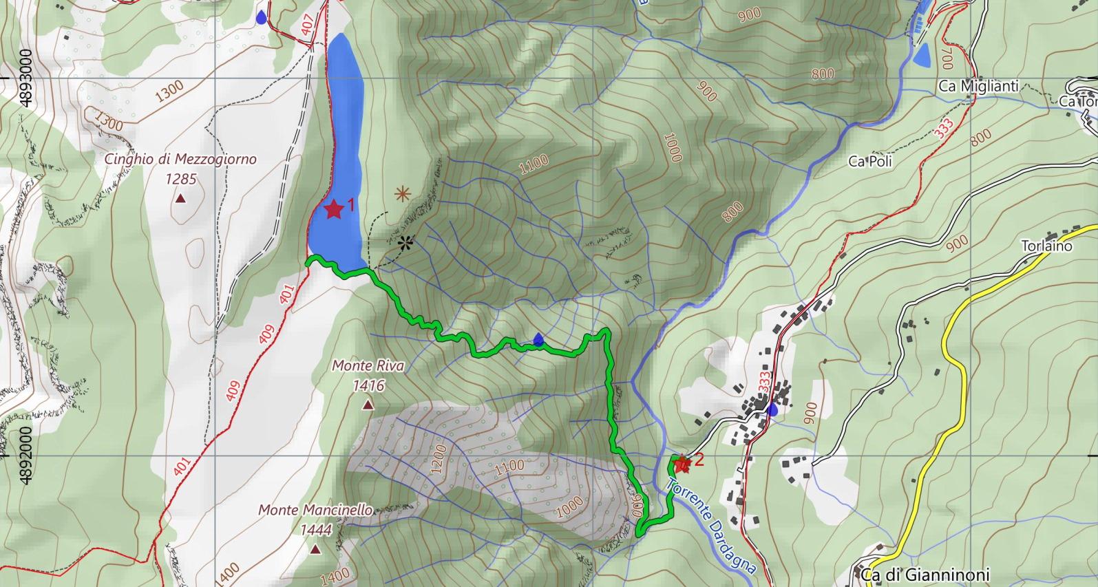 Scarica la mappa escursionistica dell'itinerario Poggiolforato - Lago Pratignano