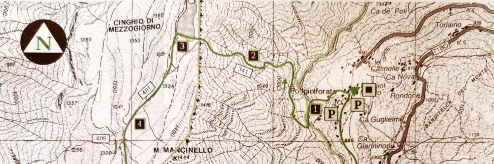 Mappa itinerario Poggiolforato Lago Pratignano, Parco Corno alle Scale
