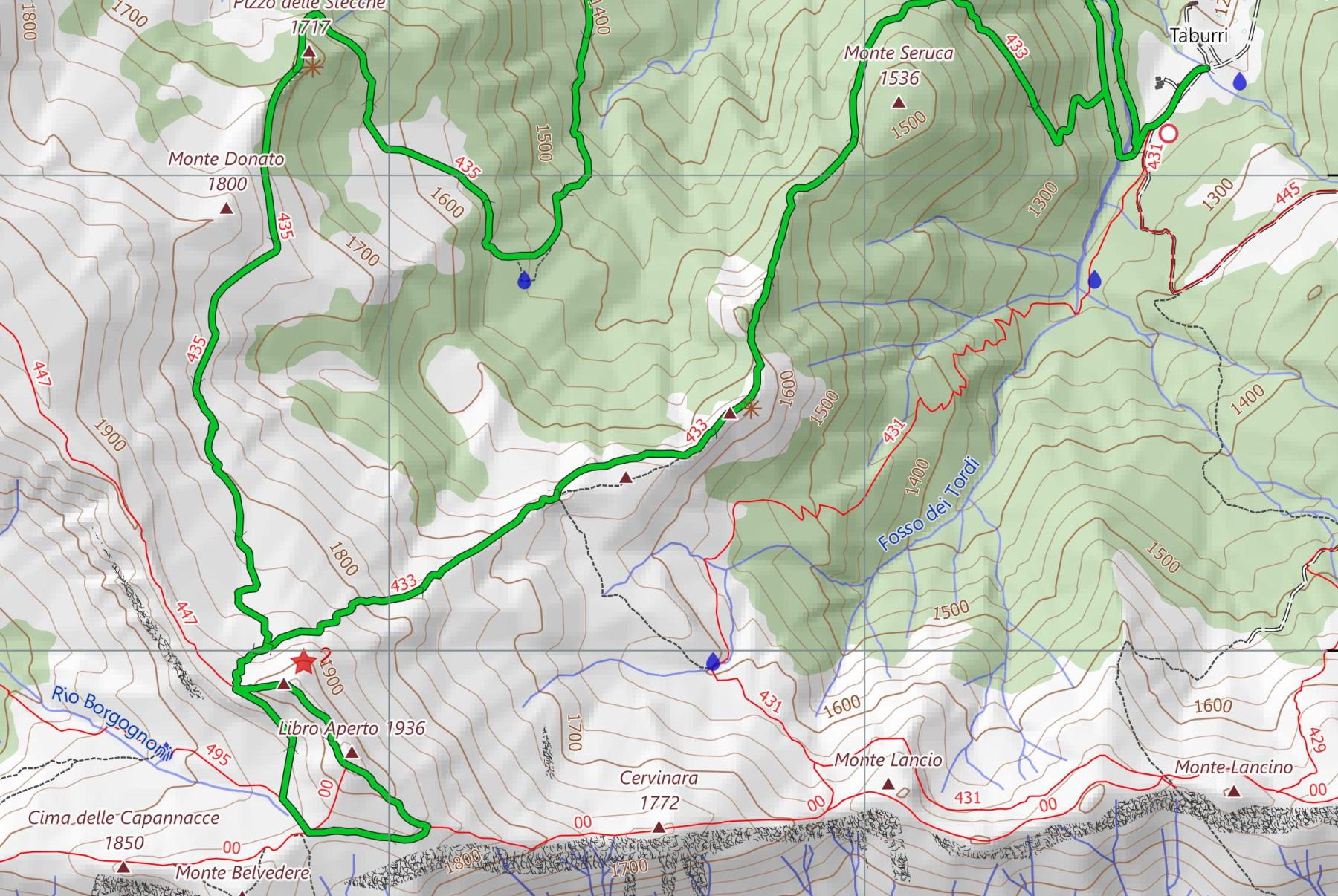 mappa itinerario taburri - libro aperto appennino modenese